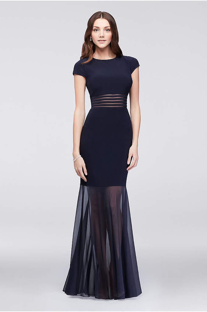Cap-Sleeve Jersey Dress with Long Illusion Skirt - A chic combo of cocktail dress and evening