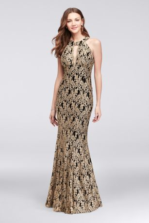 Gold Lace High Neck Halter Mermaid Gown Davids Bridal