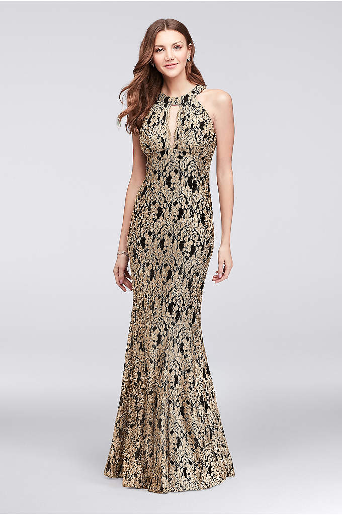 Gold Lace High-Neck Halter Mermaid Gown - Glittering gold floral lace laid over a black