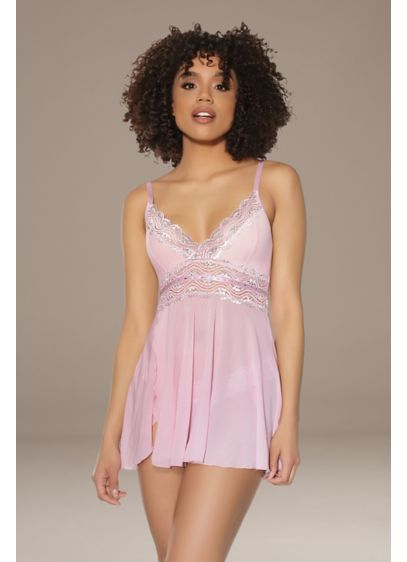 Coquette Lace-Trimmed Swingy Chemise and Thong - Wedding Accessories