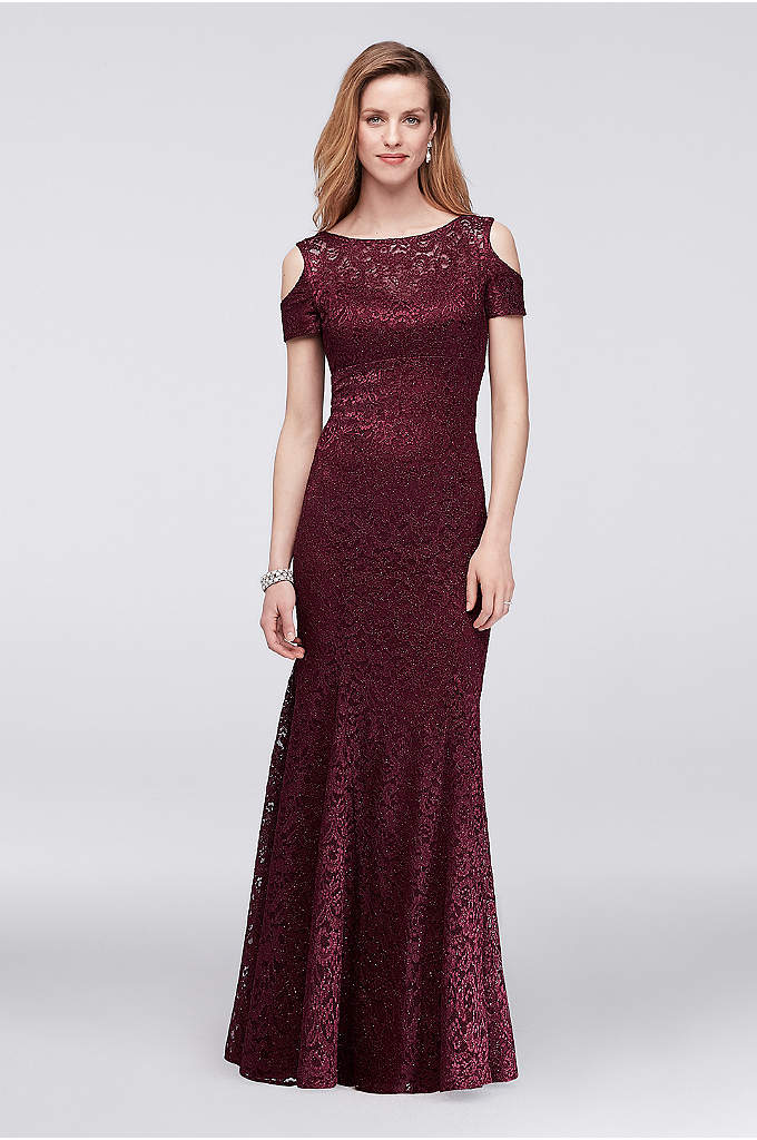 Lace Mermaid Gown with Cold Shoulder - Combining the cold-shoulder trend with the timeless appeal