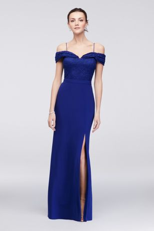 a2629e900a6b Long Sheath Off the Shoulder Cocktail and Party Dress - Morgan and Co. Save