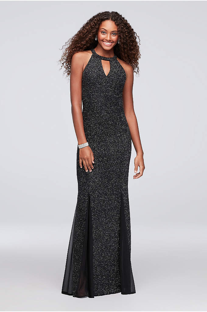 Puckered Glitter Knit Keyhole Mermaid Gown - Flecks of silver glitter add shine to the