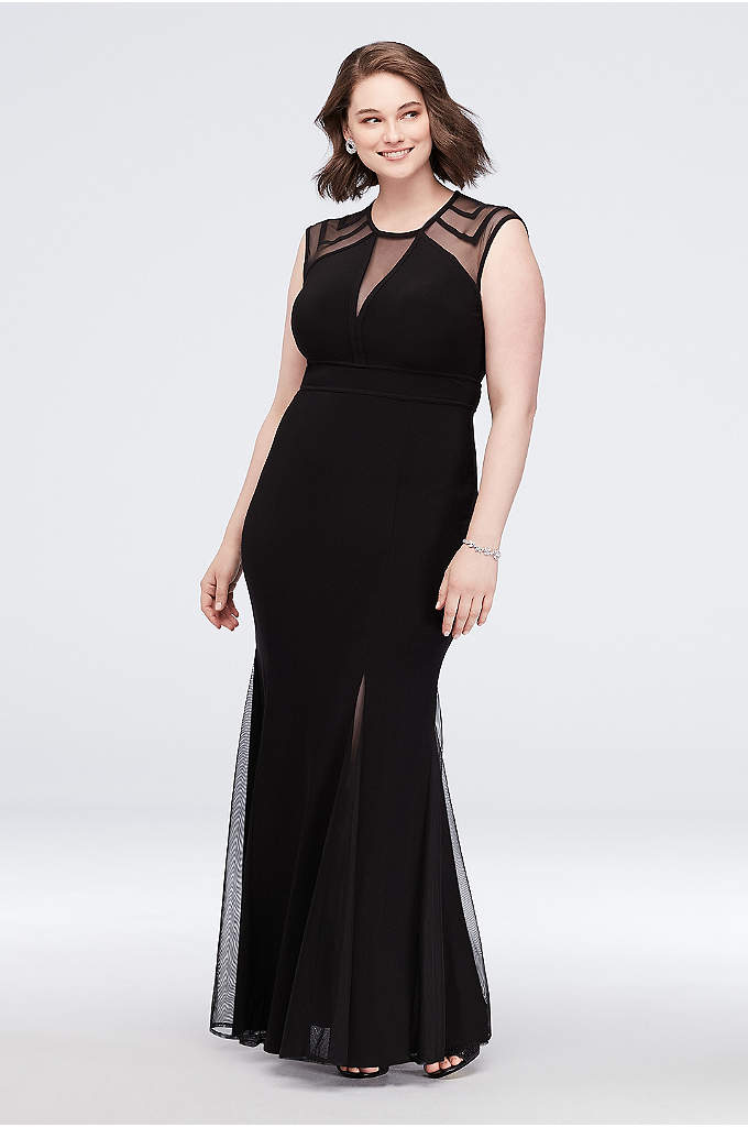 Illusion Jersey Plus Size Gown with Keyhole Back - Add a little va-va-voom to your look with