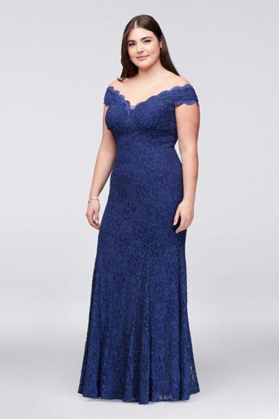 Scalloped Off The Shoulder Lace Plus Size Dress David S