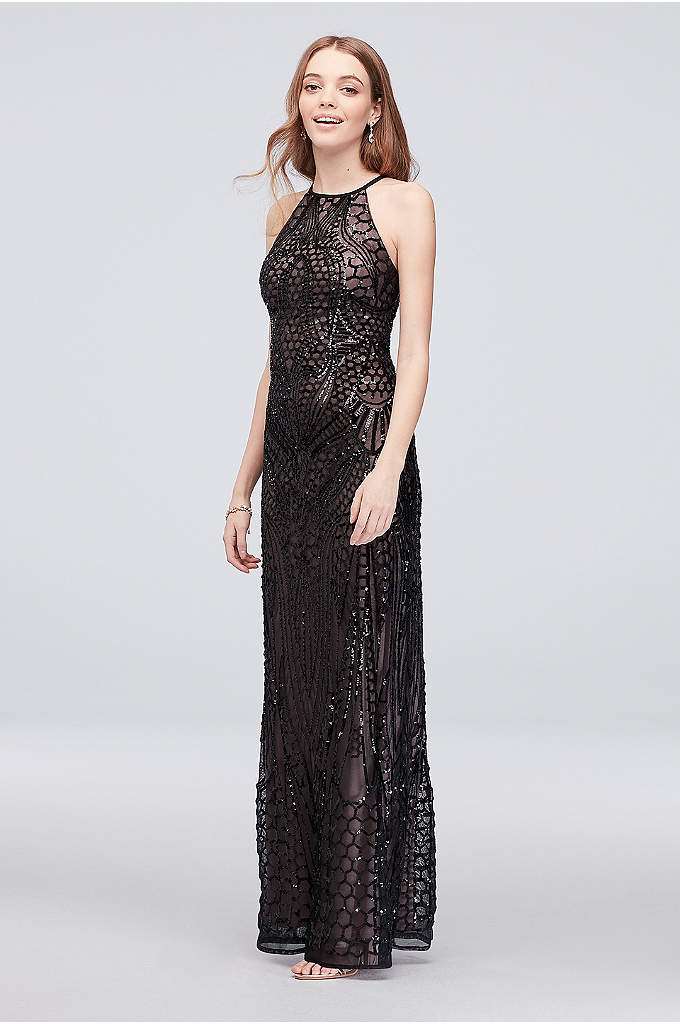 Crisscross-Back Allover Sequin Sheath Gown - Channel your inner mermaid in this slinky high-neck