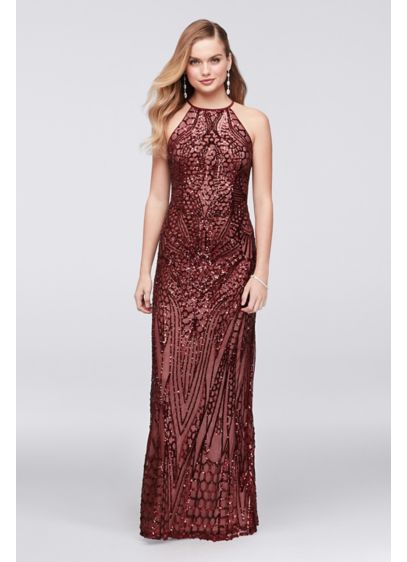 Cross-Back Mesh Sheath Dress with Sequin Design - Adorned from high neckline to hem in breathtaking