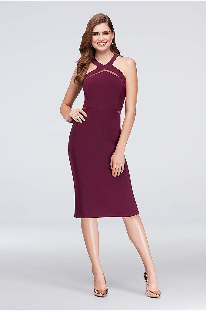 Jersey Cocktail Halter Dress with Illusion Insets - Sleek and simple, this chic jersey cocktail dress