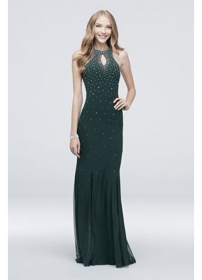 Crystal-Topped Jersey Sheath Dress with Keyhole - A constellation of crystals glitters atop this fitted