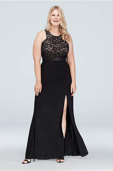 Cutaway Bodice Plus Size Sequin Lace Gown