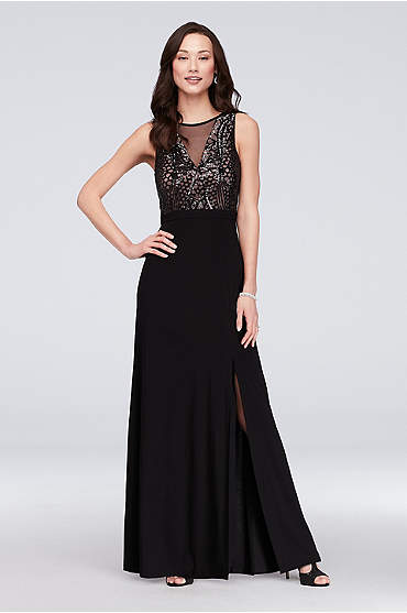 V-Neckline with Sequin Bodice Sheath Gown