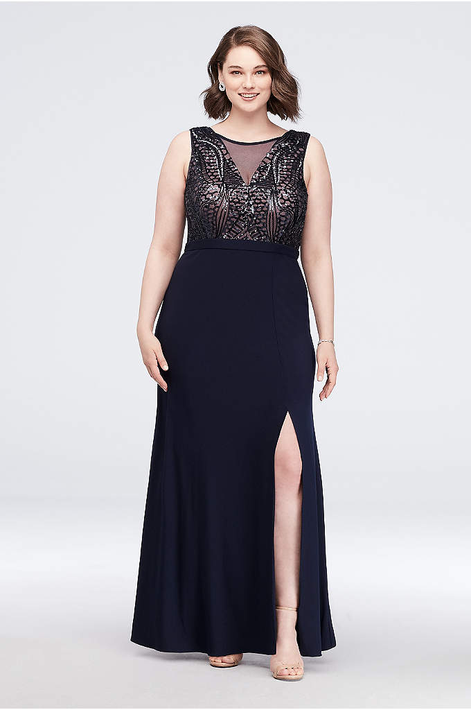 Sequin Bodice Plus Size Gown with Illusion V-Neck - Channel your inner mermaid in this slinky jersey