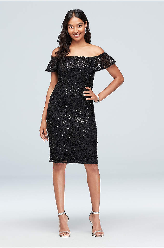 Flutter Sleeve Off-the-Shoulder Sequin Lace Dress - Boho meets chic on this off-the-shoulder sheath dress,