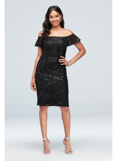 Short Sheath Off the Shoulder Cocktail and Party Dress - Morgan and Co