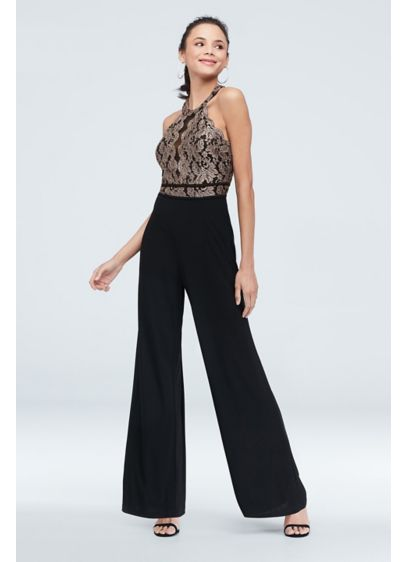 High-Neck Lace Illusion Keyhole Stretch Jumpsuit - Look cool and stay comfy all night long