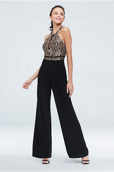 Lace Illusion High-Neck Keyhole Stretch Jumpsuit