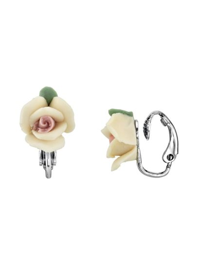 Porcelain Rose Clip-On Earrings - Wedding Accessories