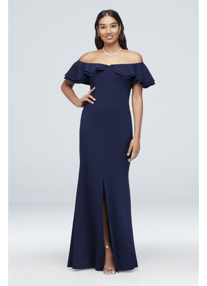 Long Sheath Off the Shoulder Cocktail and Party Dress - Morgan and Co