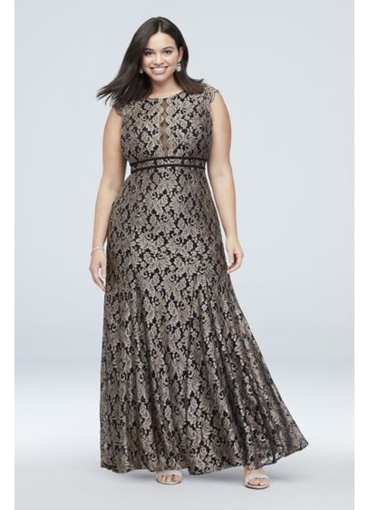 Glitter Lace Cap Sleeve Plus Size Mermaid Gown - Delicate scalloped flutter sleeves cap the high-neck bodice