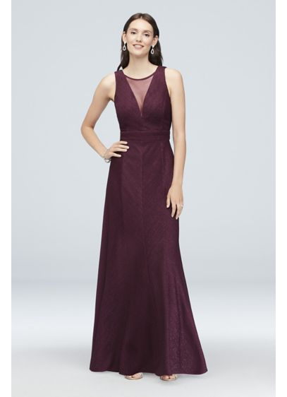 Illusion V-Neck Glitter-Knit Sheath Gown - Glam glitter knit fabric hugs your curves with