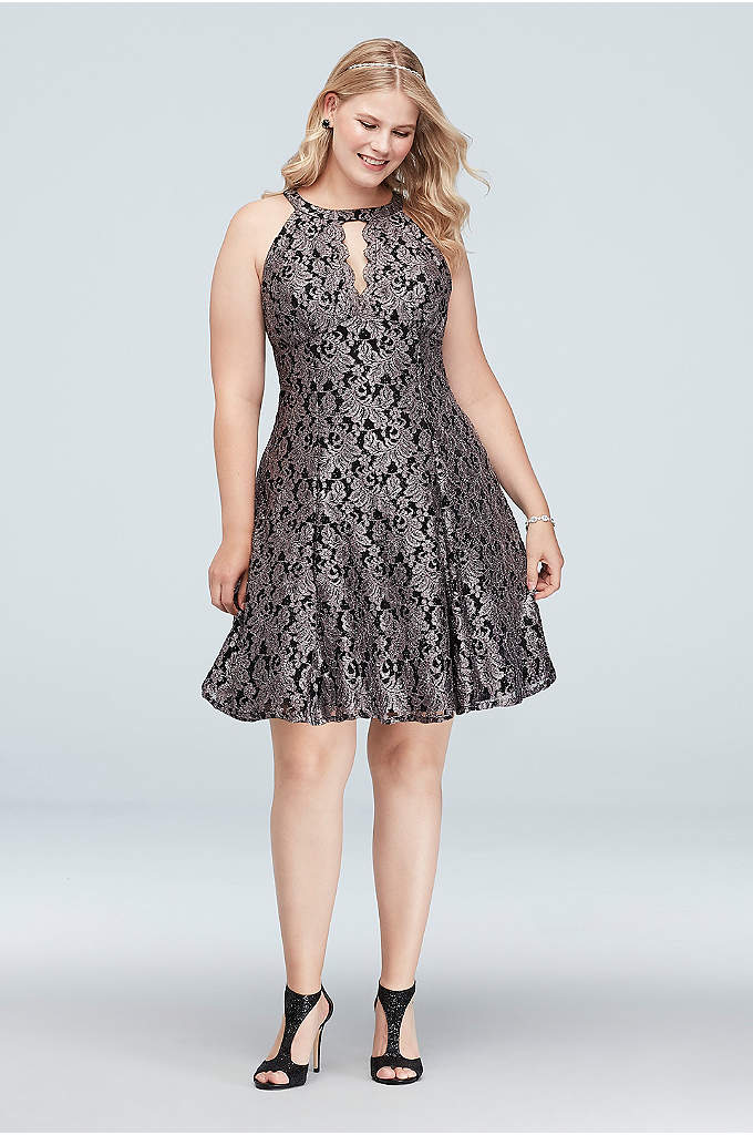 Contrast Lace Halter Fit-and-Flare Plus Size Dress - Glittering metallic floral lace laid over a black