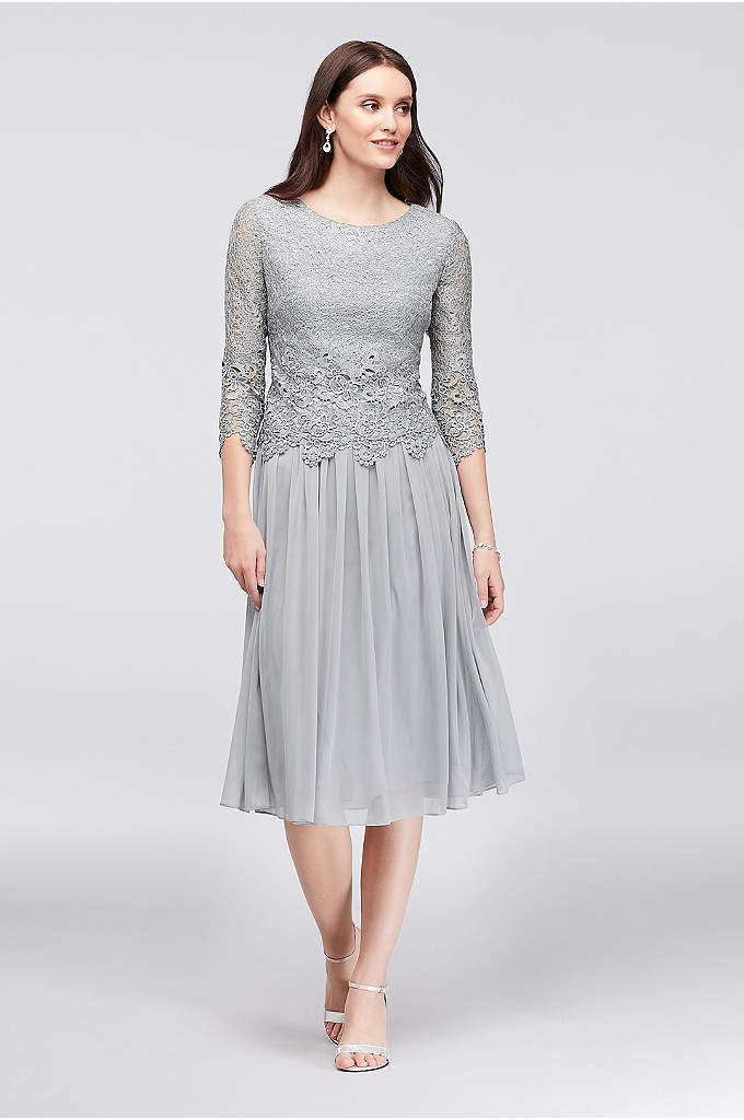Lace and Tulle Petite Popover Sheath Dress - A delicate web of metallic thread weaves its