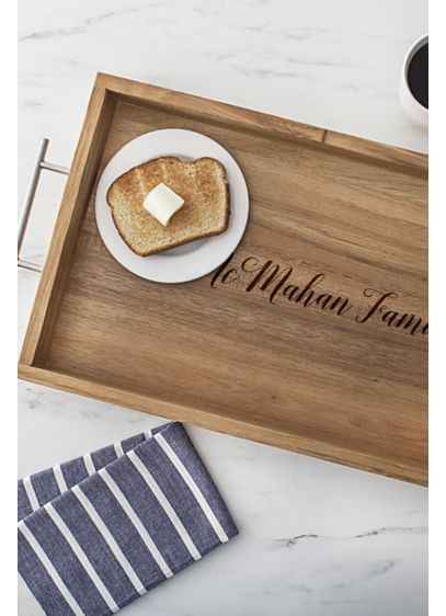 Personalized Acacia Tray with Metal Handles - Wedding Gifts & Decorations