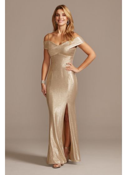 Metallic Off-the-Shoulder Seamed Gown with Slit - Steal the spotlight in this raidant metallic gown.