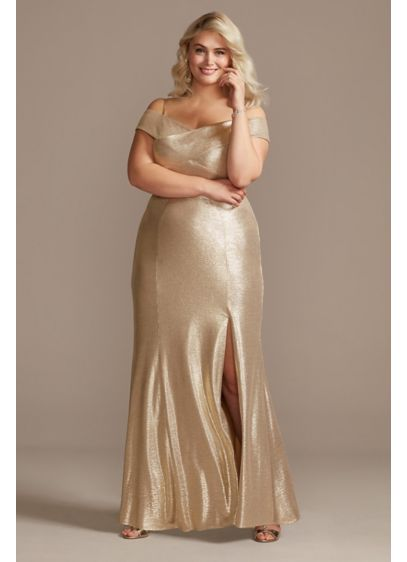 Metallic Off-the-Shoulder Seamed Plus Size Gown - Steal the spotlight in this raidant metallic plus-size