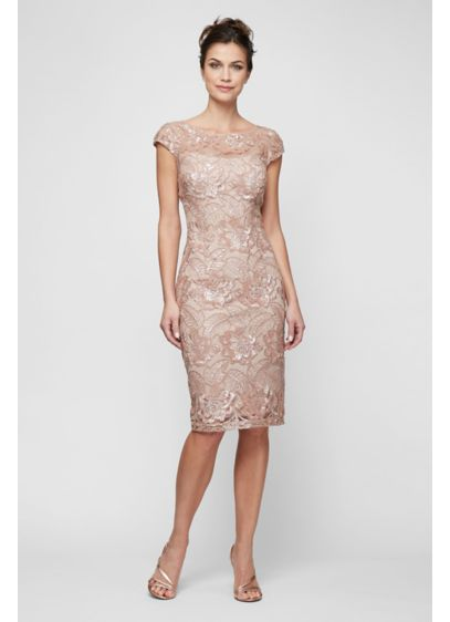 Petite Sequin Lace Sheath with Cap Sleeves - Lux sequin lace and illusion cap sleeves make
