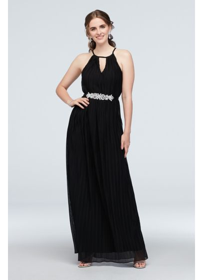 High Neck Keyhole Accordion Pleat Belted Dress - Topped with a pleated mesh overlay, this dress