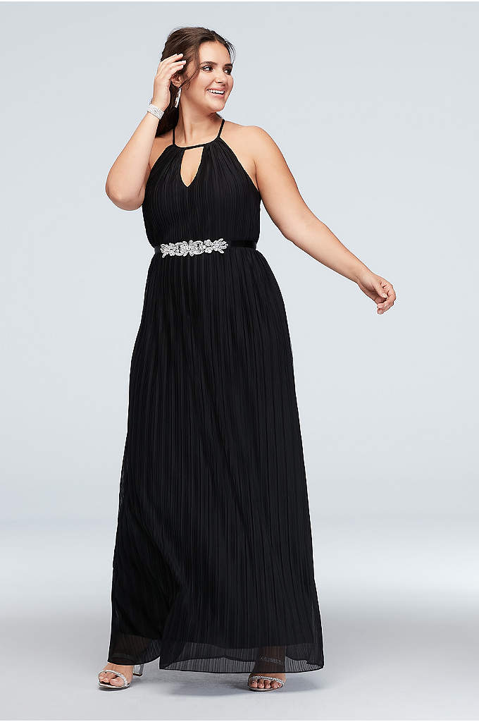 High Neck Accordion Pleat Belted Plus Size Dress