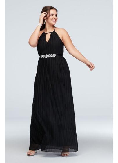 High Neck Accordion Pleat Belted Plus Size Dress - Topped with a pleated mesh overlay, this plus-size