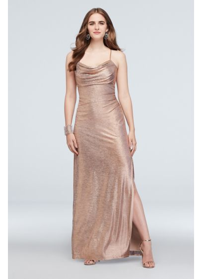 Metallic Cowl Neck Sheath Dress with Ruching - Graceful ruching lends definition to this metallic sheath