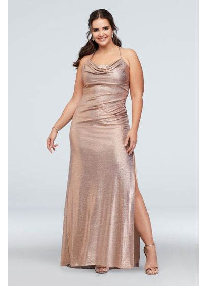 Metallic Cowl Neck Plus Size Dress with Ruching | David\'s Bridal