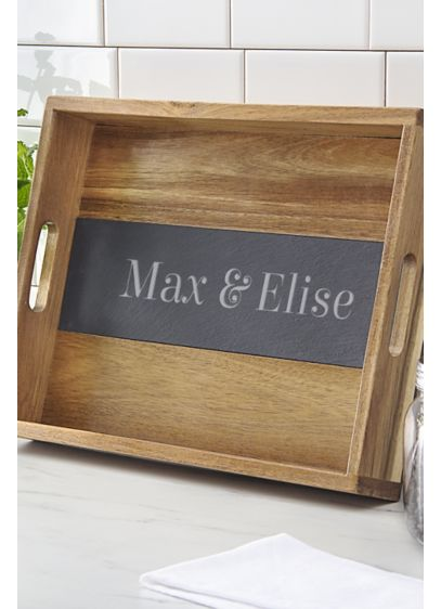 Personalized Acacia and Slate Tray - Wedding Gifts & Decorations