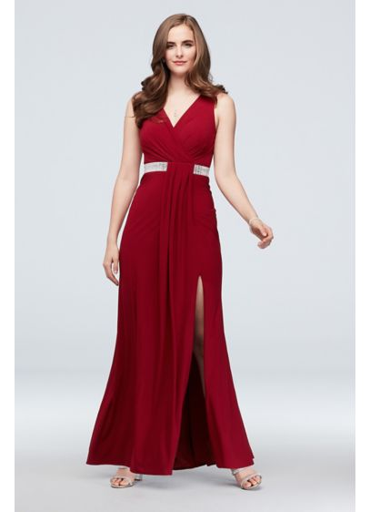 Faux Wrap Pleated Tank Dress with Crystal Belt - This floor-length jersey gown is the height of
