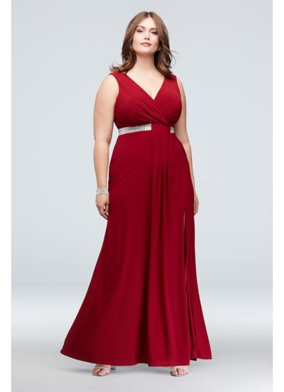 Faux Wrap Pleated Plus Size Dress with Belt - This floor-length jersey plus-size gown is the height