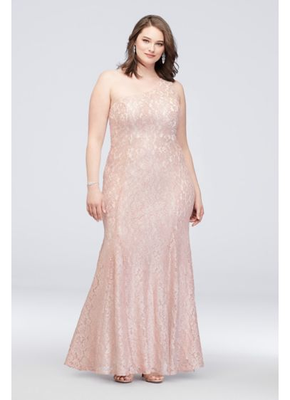 One-Shoulder Plus Size Glitter Lace Mermaid Gown - Shimmer and shine your way across the dance