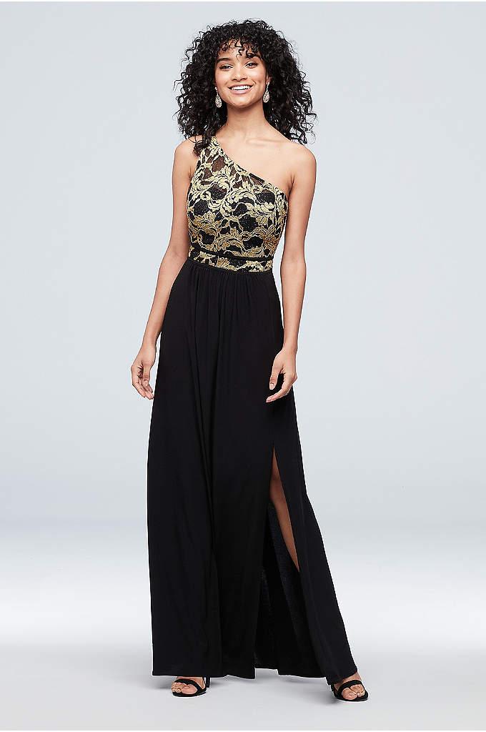 Strappy One-Shoulder Jersey Lace Sheath Dress
