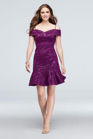 Short Sheath Off the Shoulder Dress - Morgan and Co