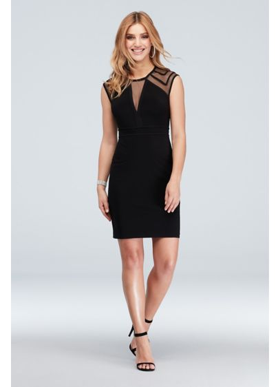 Illusion Cap Sleeve and Plunging-V Short Dress - Ooh la la! This sophisticated mini features sexy