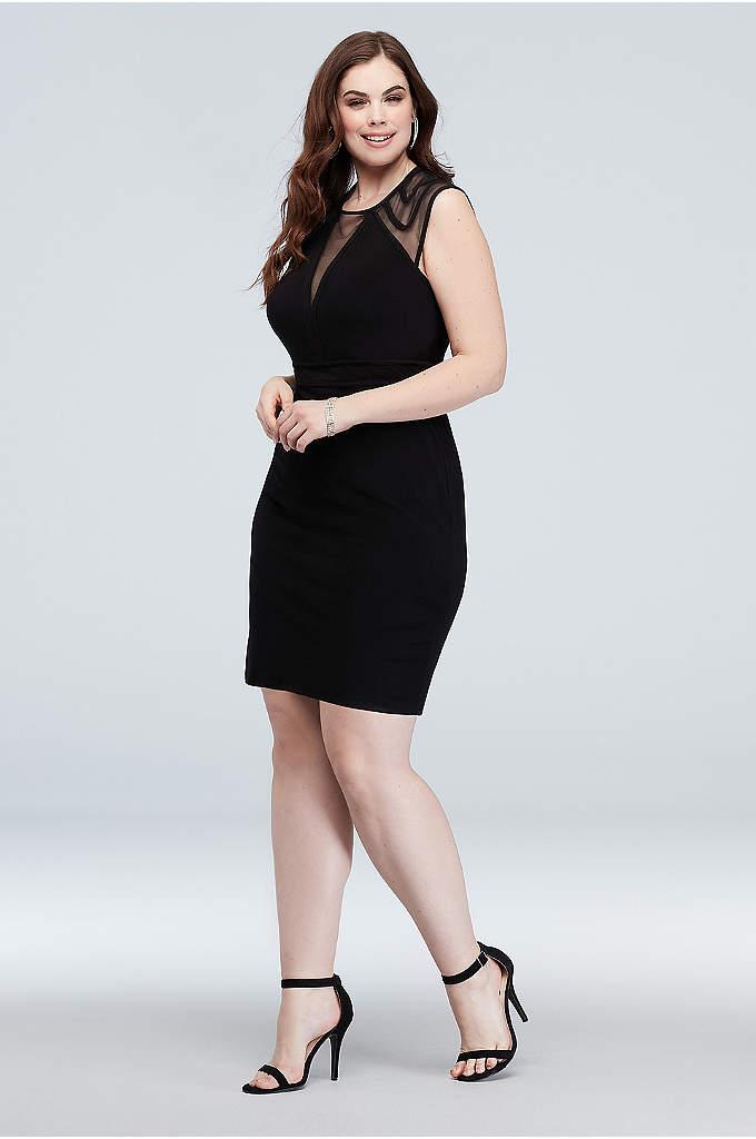 Illusion Cap Sleeve Deep-V Plus Size Short Dress
