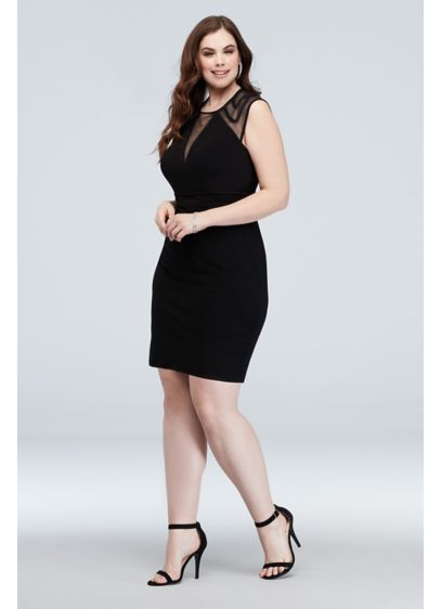 Illusion Cap Sleeve Deep-V Plus Size Short Dress - This sophisticated plus-size mini dress features sexy illusion