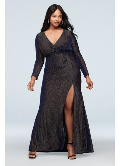 Metallic Ribbed Long Sleeve Plus Size Dress