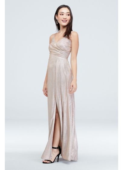 Glitter Metallic Draped Double Skinny Strap Gown - Add some sparkle to the party in this