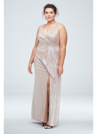 Glitter Metallic Double Strap Plus Size Gown - Add some sparkle to the party in this