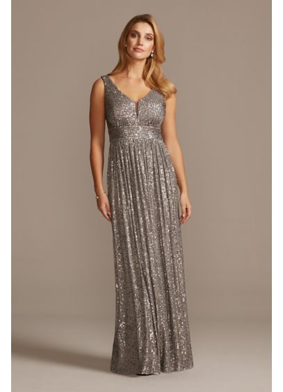 Allover Sequin Pleated Gown with Illusion Plunge - You'll dazzle all night long in this sequin-covered,