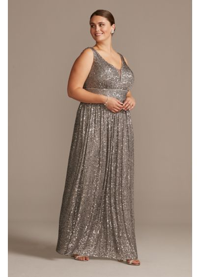 Allover Sequin Pleated Illusion Plus Size Gown - You'll dazzle all night long in this sequin-covered,