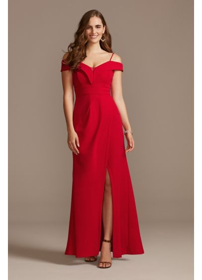 Off the Shoulder Fold Seamed Gown with Slit - A crisp fold detail trims the off-the-shoulder neckline